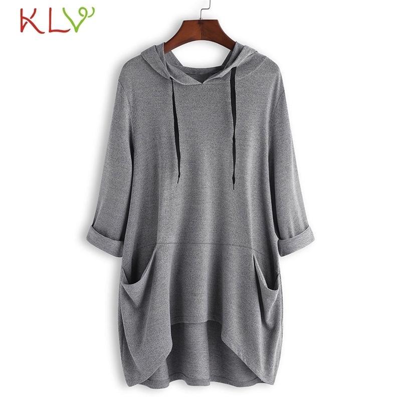 Kadınlar Üst Artı Boyutu Modu Katı Cep Kapşonlu Uzun Kollu Yeni T-shirt Moda Rahat Kadın T-shirt 18NOV6 T200110