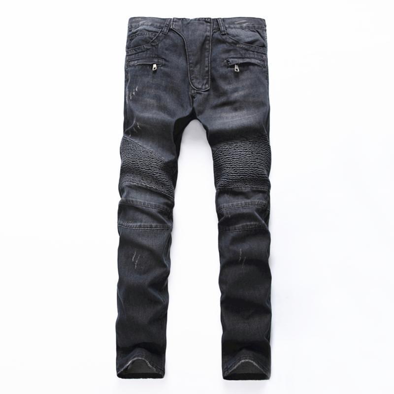 Männer Jeans Herren Schwarz Vintage Hellblaue Löcher Rissen Biker Für Motorrad Casual Plissee zerrissene Stretch Denim Slim Hosen Mann
