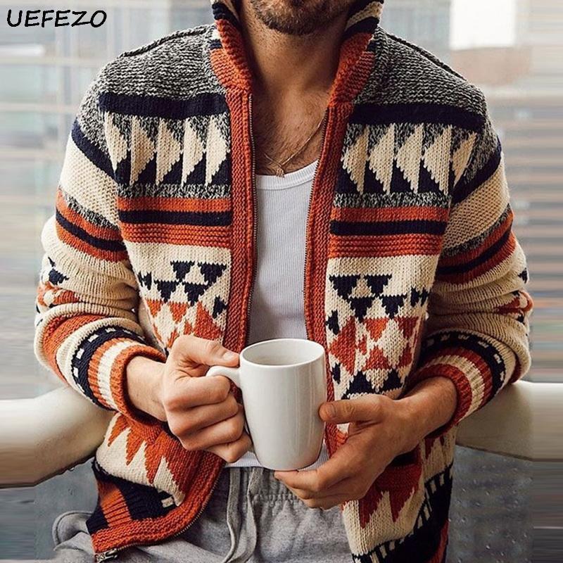 UEFEZO Ретро Мужчины Урожай Строчка свитера кардигана Осень Зима Теплый свитер Плюс Размер Цвет Matching свитера Jumper пальто