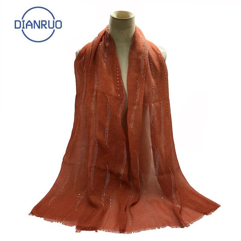 Sciarpe dianruo stile signore hijab donne sciarpa headcloth color solido colore musulmano testa bandana scialli e avvolgimenti r162