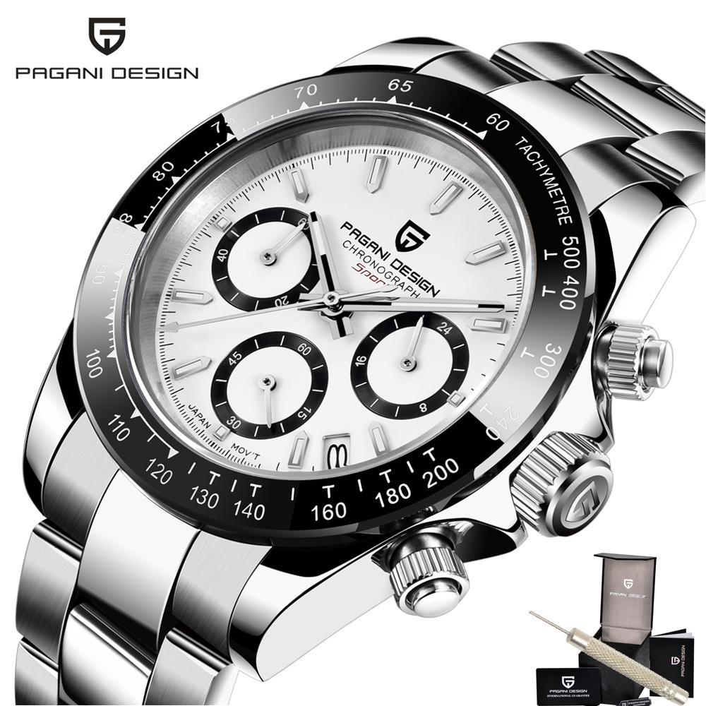 Luxus Männer 100 Meter wasserdichte Sport-Saphir-Uhr-Mann-Pagani Design-Lünette Chronograph Herren-Uhren Vk63 Reloj Hombre 2020