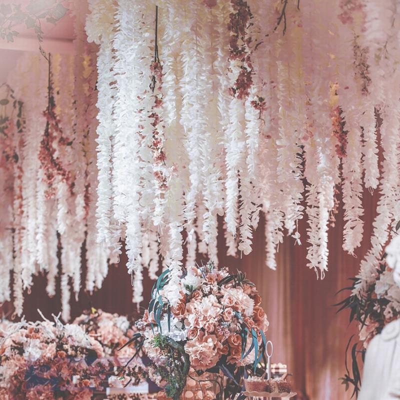 Уникальный дизайн Свадебные украшения Фон цветок орхидеи Шелковый Глициния Vine Белые искусственные Венки съемки фото реквизит Free Sh