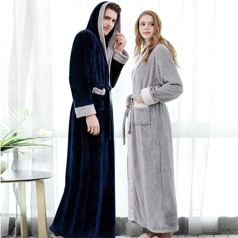 Мужские зимние плюс размер сгущает теплый фланель халат с капюшоном Extra Long Coral Flece Bath Albe ночной халат женские спящие одежды 201109