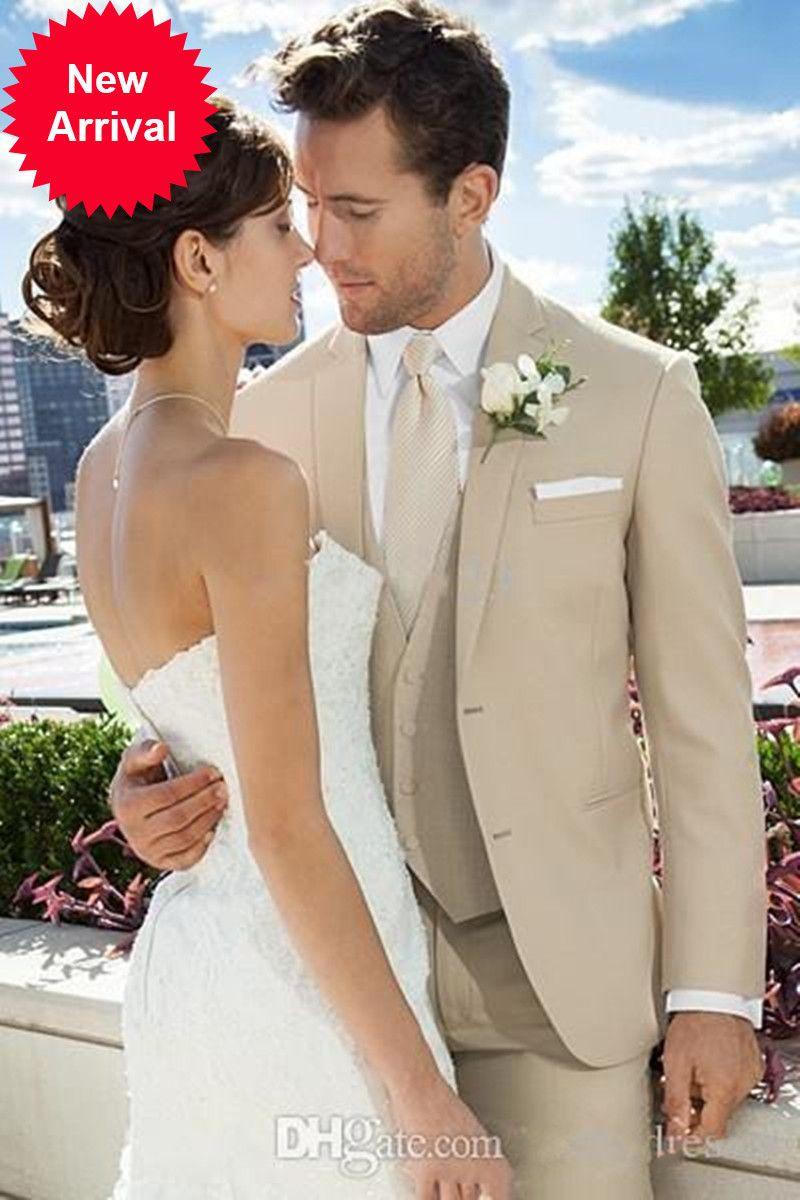 Топ Продажи 3 шт элегантный бежевый жених смокинги пользовательские формальные свадебные износы жениха подходит Лучше всего установленные BusinessJB1G