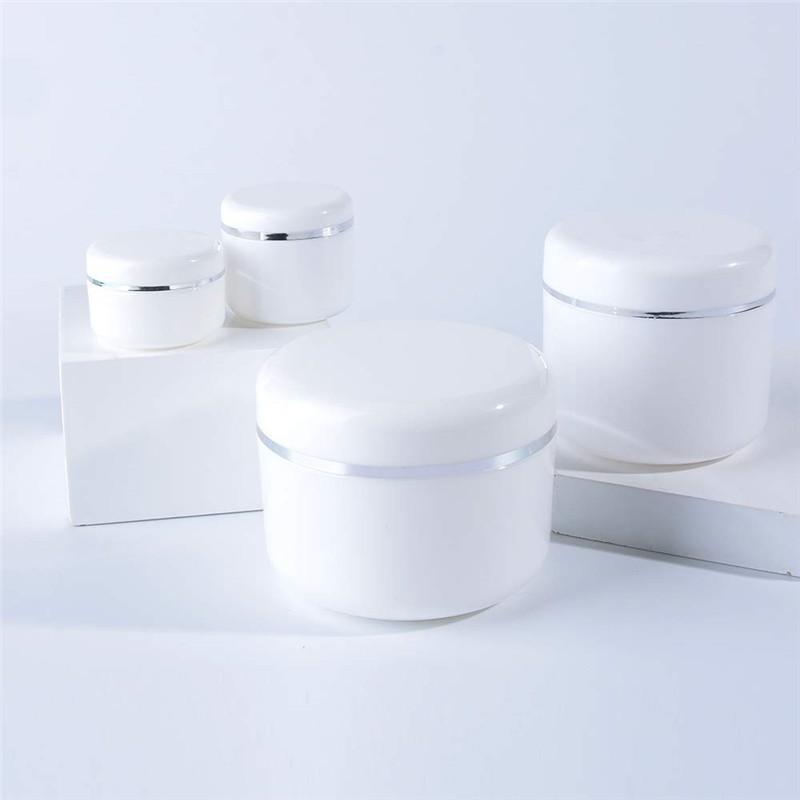 Boş Beyaz Taşınabilir Şişe Doldurulabilir Plastik Kozmetik Krem Kavanoz İç Astar ve Kapaklar Ile Örnek Konteyner Şişe Kavanoz