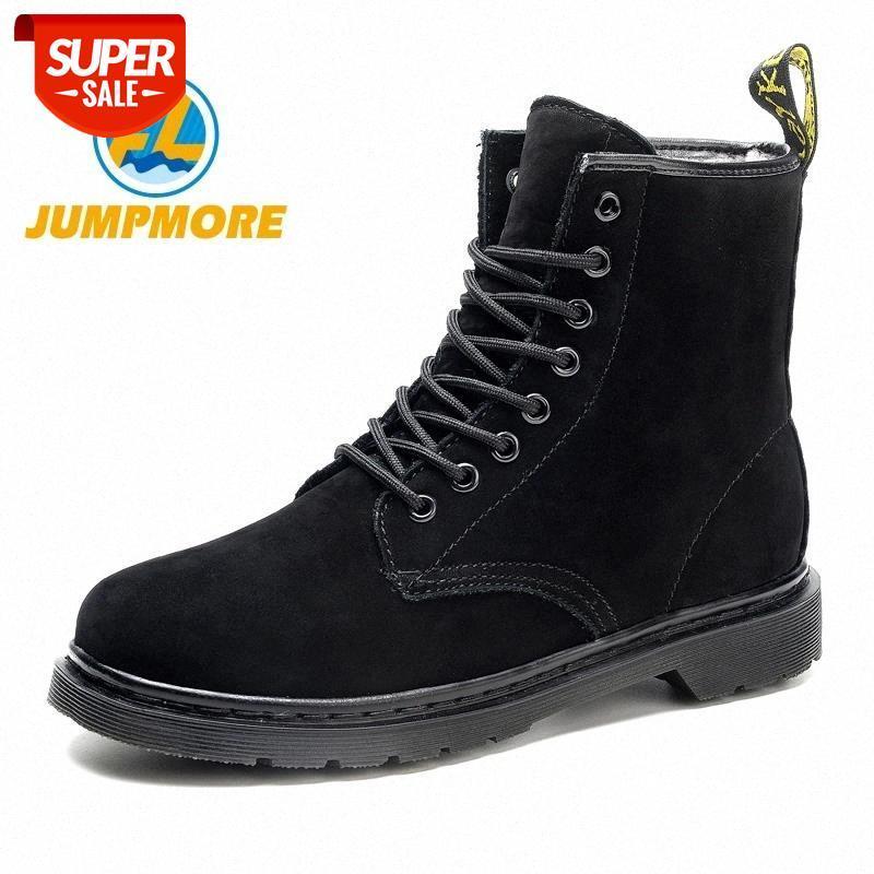 Botas pretas de couro genuíno sapatos de trabalho botas de inverno com sapatos de pelúcia mulher casual primavera botas mujer feminino tornozelo # ss9g