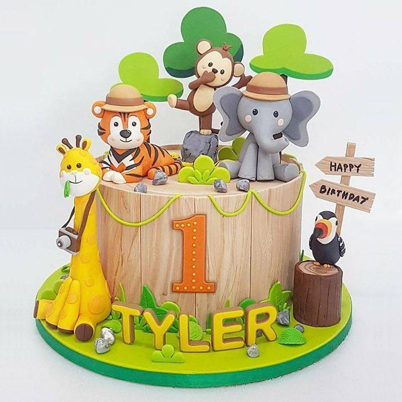 2020 Deep Forest Animals Theme Happy Birthday Cake Topper Elephant Birthday Cake Topper for Kids Party Decorations