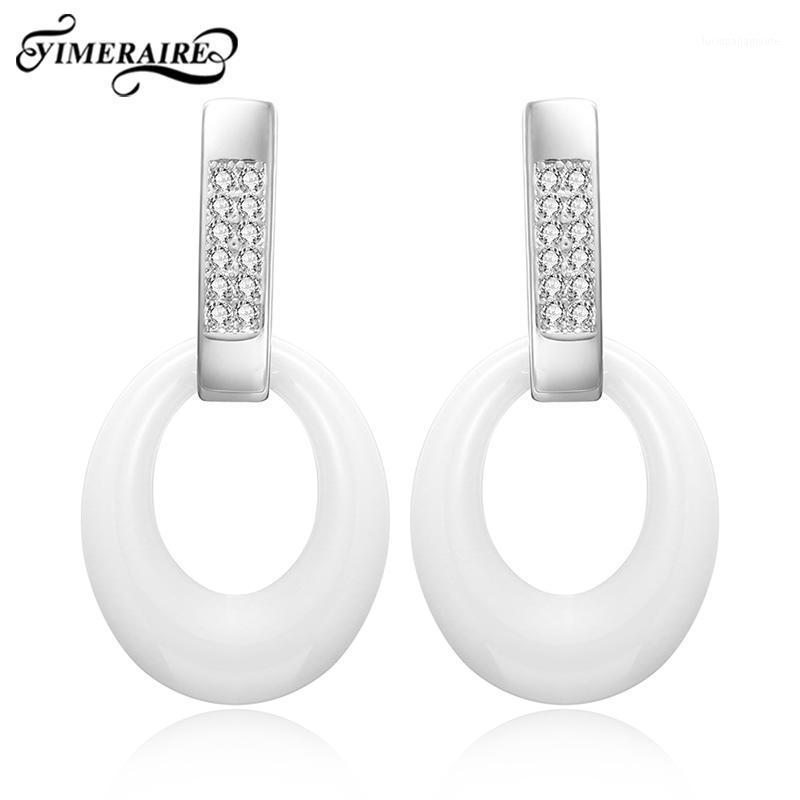 Pendientes de agua de joyería blanca negra clásica moda elegante lindo cerámica y cristal estilo simple para mujeres bodas fiesta1