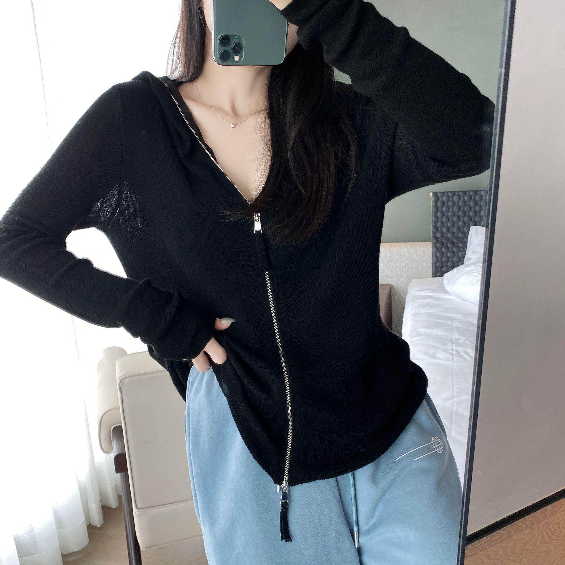 Rivestimento lavorato a maglia cardigan con cappuccio moda nuova sottile maglione della parte superiore stile straniero alto maglione sottile V-collo delle donne femminile f6141 z35jM