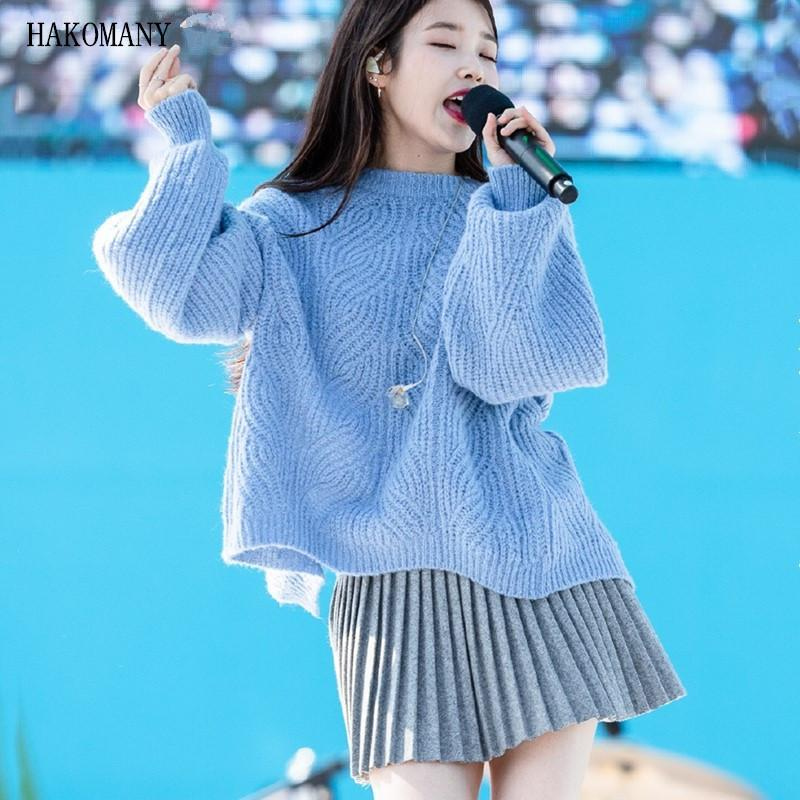 2 adet Set Vintage Örgü çevirin Yarık Geri Backless Kore Giyim Kadın Pileli Mini Etek Uzun kollu Triko Jumper Sweat
