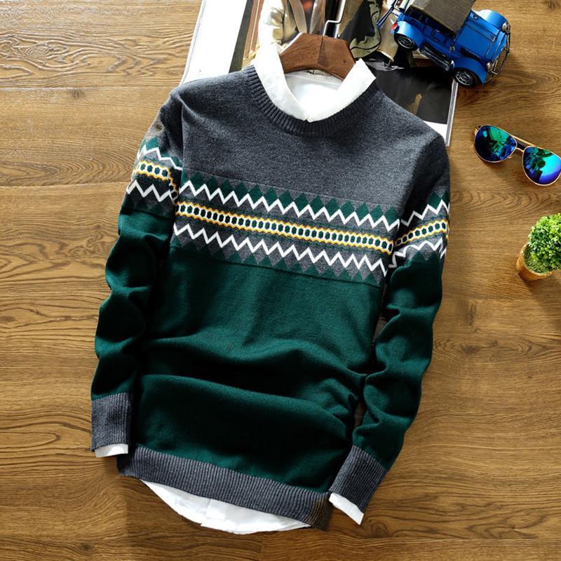 O-cou Hommes Coton Pull Patchwork Automne Hiver Chaud épais de qualité parfaite Vêtements Slim Fit Pulls Casual Male tricotée 1114