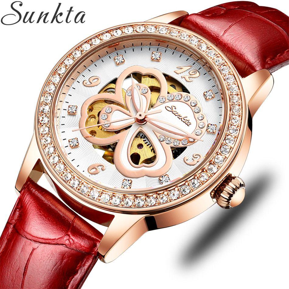 Relogio Feminino Sunkta автоматические механические Женщины Мода Rhinestone Hollow Дизайн Часы Кожаный ремешок водонепроницаемый часы
