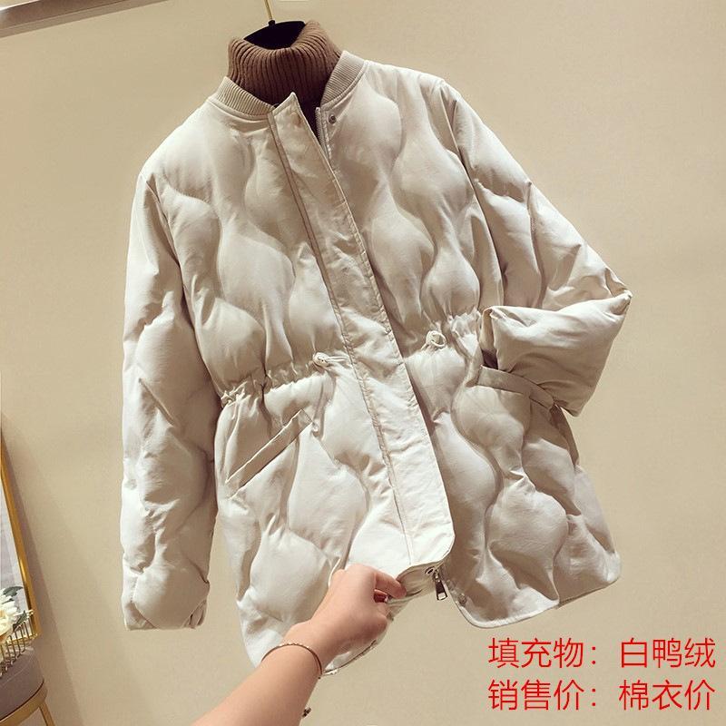 Jaqueta feminina 2020 Nova coleção de cintura coreana collúcia gola branca Duck Down Student Loose Abaixo do casaco de cor sólida das mulheres