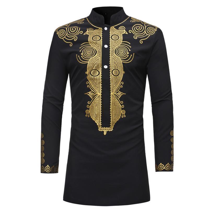 New 2020 Dashiki africaine traditionnelle Imprimé Fashion Rich Hommes manches longues Bazin Afrique Vêtements pour Thobe Robe chemise homme