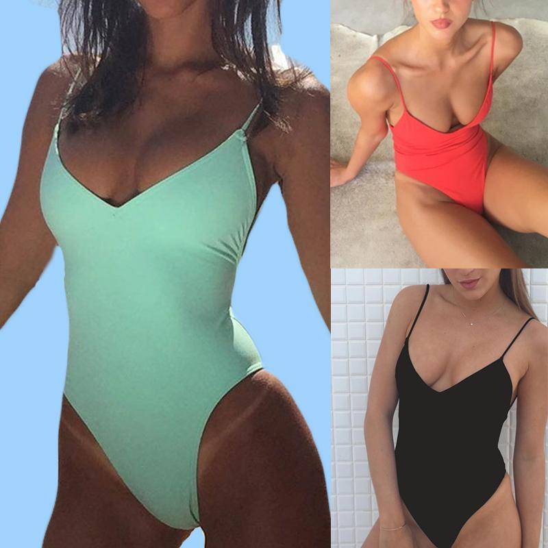 Kadınlar Katı Bikini Sexy Bandaj One Piece Backless Mayo Kadın Yıkanma Suits bodysuit Plaj Giyim Yeni Swim Suit parça bikini C 1008