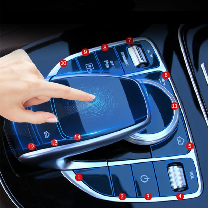 مركز السيارة وحدة التحكم الوسائط المتعددة ماوس زر حامي فيلم لمرسيدس بنز C E GLC W205 W213 X253 فئة منع خدش الشارات
