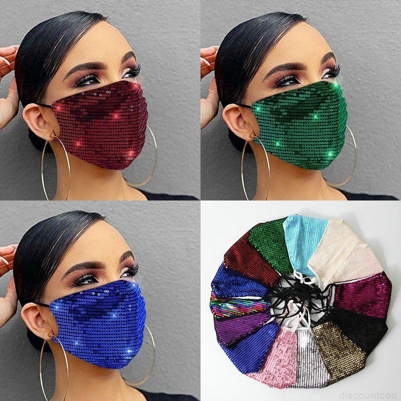 Pullu Yüz Maskesi Madeni Moda Lady Salon Tasarımcı Blingbling Lüks Maske Yıkanabilir Kullanımlık Yetişkin Mascarillas Koruyucu Adjusqs