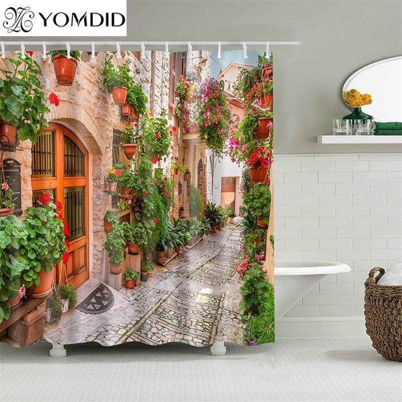 Yomdid 3d красочные уличные аллеи образец душевые занавески ванная комната занавес водонепроницаемый ванна занавес с 12 крючками рождественский подарок 201028