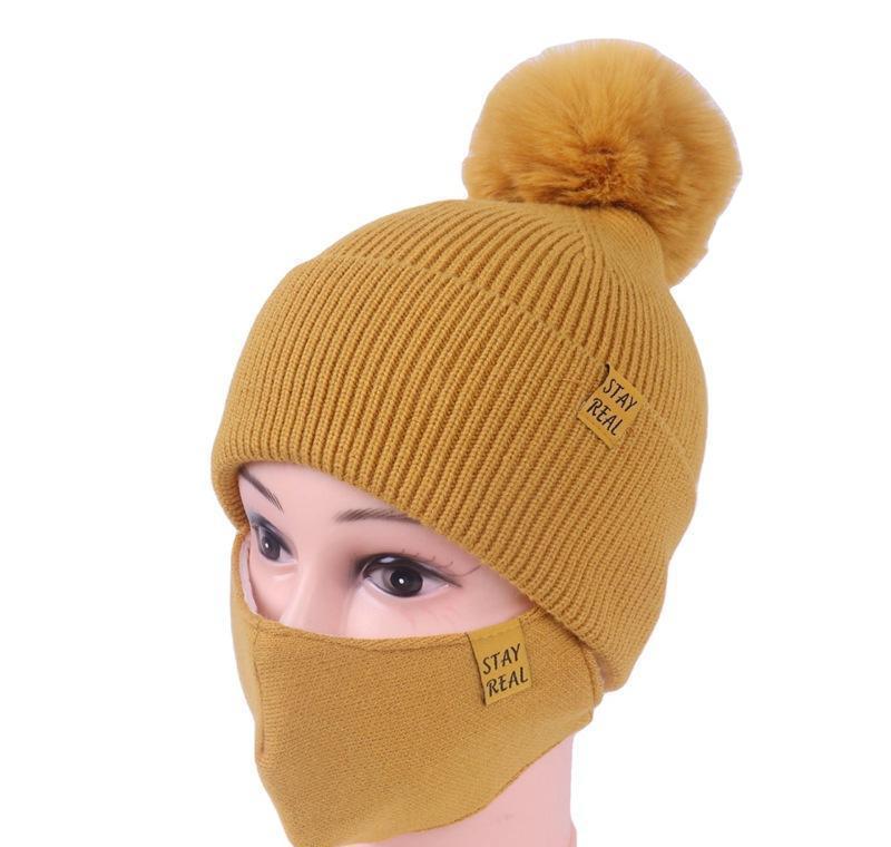DHL Shipping Womens Girls Knit Beanie Cap с Maskie Mask Set Мягкая теплая выстроилась зимняя лыжная горка Pompom Hat Открытый на велосипеде 8 цветов Jlliwij