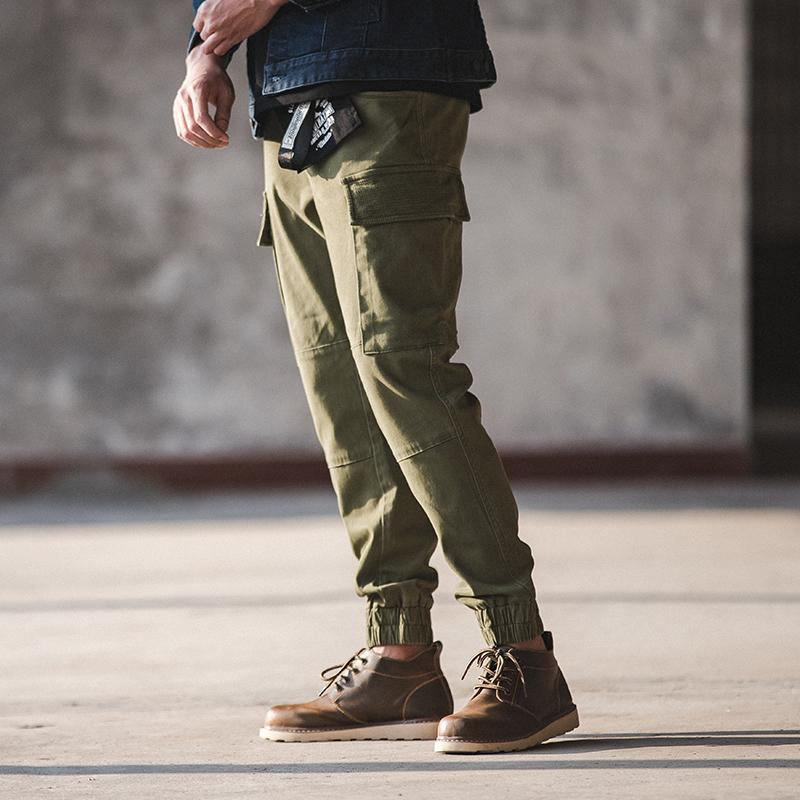 Mens Slim Fit Twill Cargo Jogger Pants Stretch Multi Pocket Blue Khaki Green LJ201007