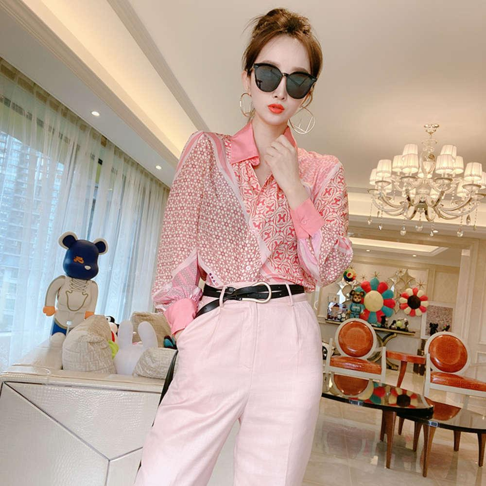 Avrupa 2020 ilkbahar ve sonbahar moda pembe ipek asimetrik yaka kadın gevşek kişiselleştirilmiş baskılı gömlek