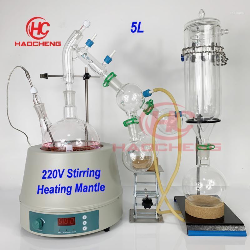 Frete Grátis, 5L Destilação de Caminho Curto Com 220V Esticando Aquecimento Mantil, Chiller Heatater e Pumpa de Vácuo11