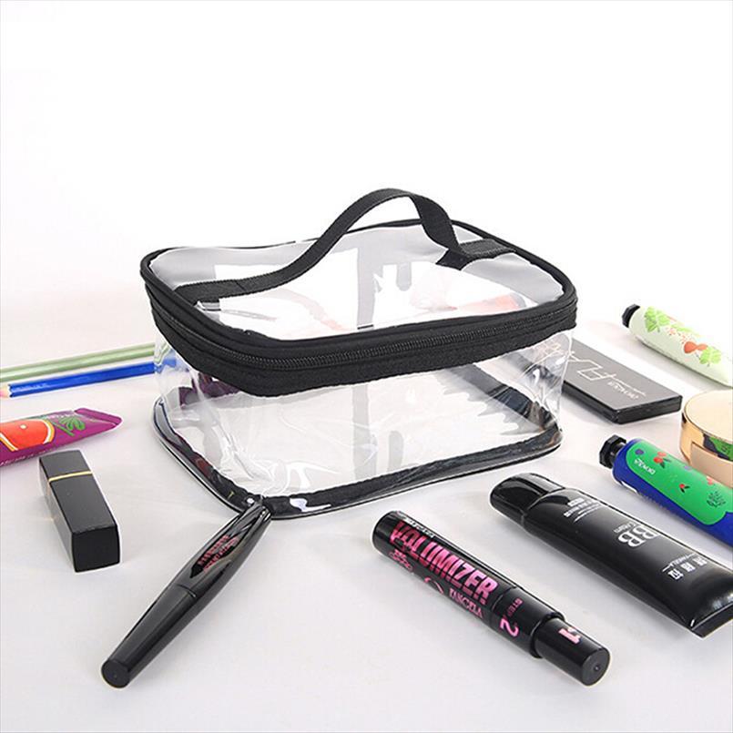 Le donne trasparente sacchetti cosmetici PVC impermeabile Viaggi Wash Organizzatore Custodia trasparente di trucco di bellezza di caso Accessori 3 formati