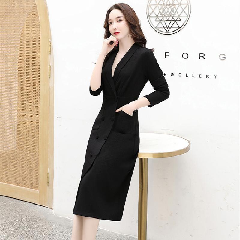 Весна 2020 выпуск нового корейского стиля стиль талии платье платье в длинном двубортный профессионального платье