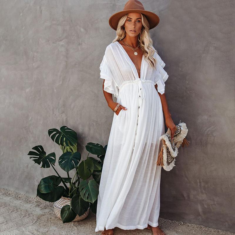 Sexy Bikini Cover-ups Long White Tunika Casual Summer Beach Kleid Elegante Frauen Plus Size Strand Tragen Schwimmenanzug Cover Up Q1208 Jckik