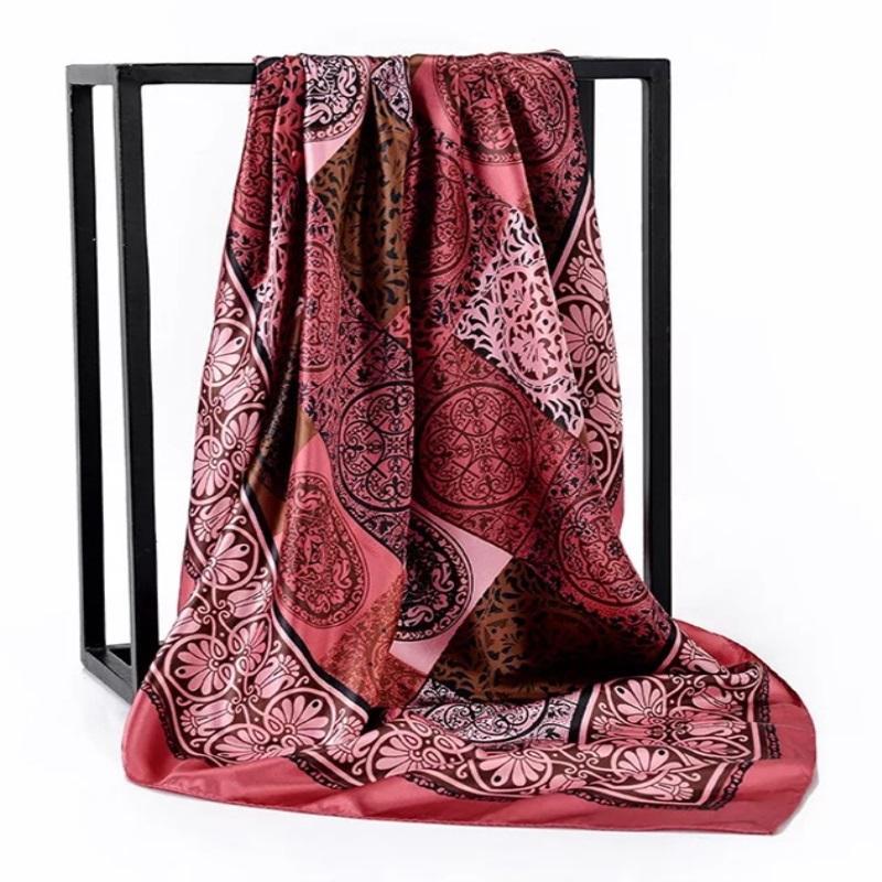 Oficina de Señoras Pelo de seda Plaquín Cuello Cuadrado Mujeres Bufandas Shawfler Muffler Bandanna 90 * 90 cm Musulmán Hijab Handkerchief Bufanda Foulard GSXFV