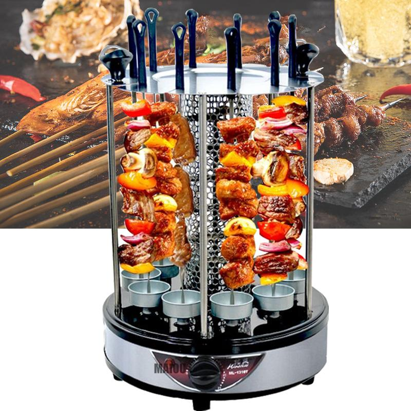 2021Latest hot saleElectric oven home smokeless grill automatic rotating barbecue skewer grilled kebab machinegrilled kebab machine