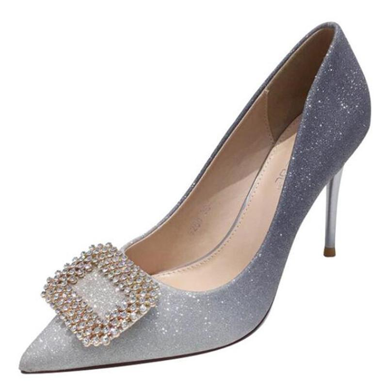strass gradiente de sapatos de salto-alto feminino fino e pontudo salto boca rasa únicas mulheres casamento sapatos banquete