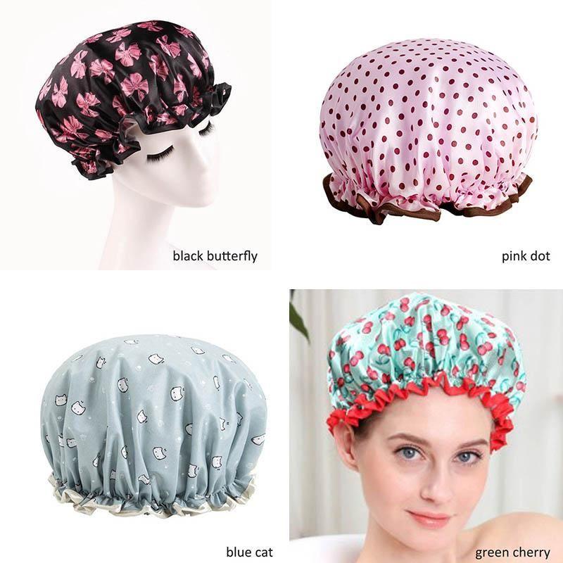 Spessore 1 pz Cappello da bagno impermeabile a doppio strato Doccia Capelli Cover per capelli Forniture Doccia Tappo Bagno Accessori da bagno H BBYLML