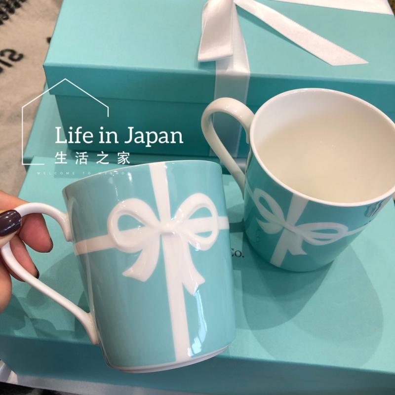 Tazas Azul Rosetón Rosetón Bone China Taza y taza 350ml Taza de porcelana blanca Café Cumpleaños regalo