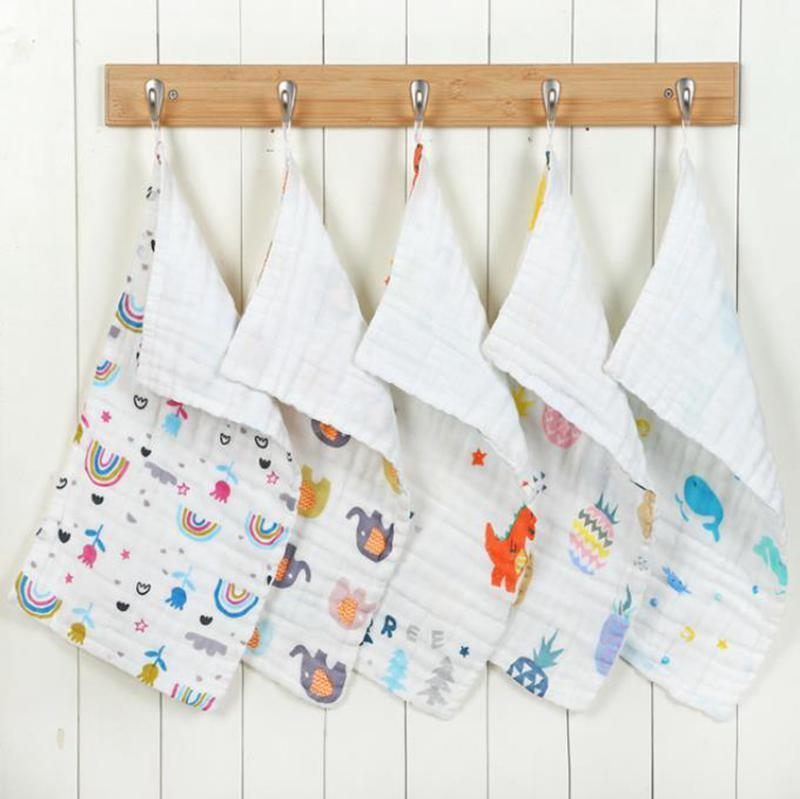 Baby Cotton Gauze Face Towel Cartoon Soft Infant Long Square Towels Hanging Washcloths Feeding Bibs 6 Layers 11 Designs DHA1634