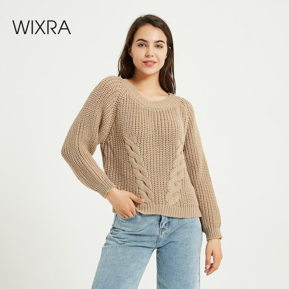 Wixra Women's Loose Sweater New Basic O-Neck Solid Autumn Winter Pullovers Women Knitted Long Sleeve Sweaters 201022