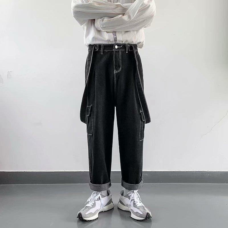 Mode marke suspender overalls männer koreanische hip-hop trend lose gerader ziehen hosen breite bein jeans
