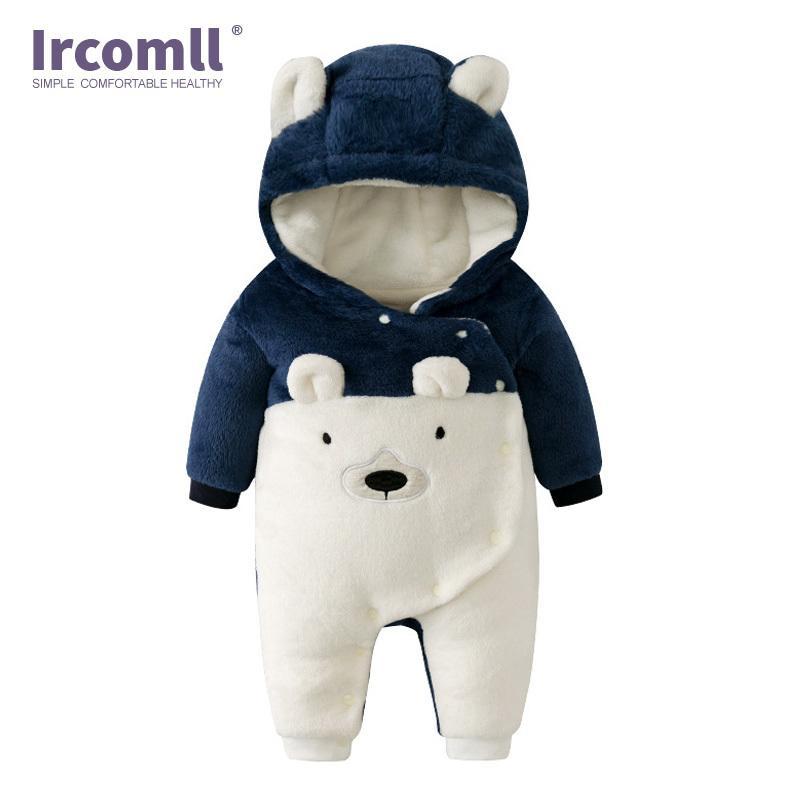 Ircomll appena nati caldi Baby pagliaccetti Autunno Inverno Orso morbido interno in pile di vestiti di arrampicata per ragazze dei ragazzi della tuta Inafnt Outwear Q1113