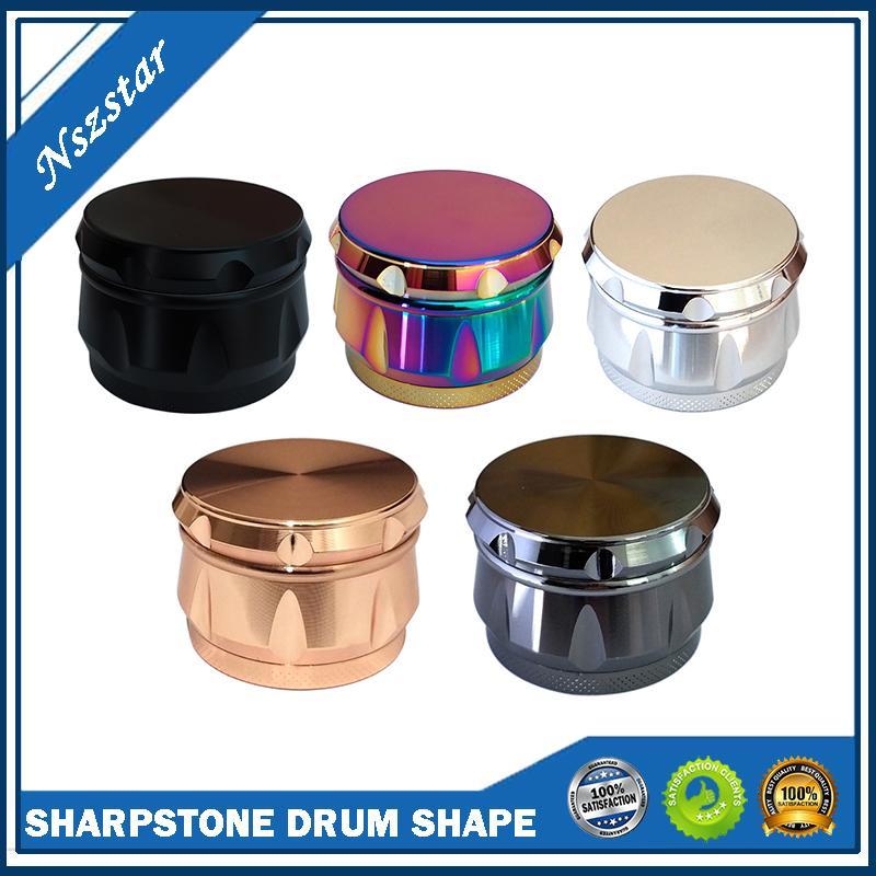 Sharpstone Drum Forma Herb Moedor 4 Camadas Seco Herb Chopper Slicer 40mm 50mm 55mm 63mm moda moedor 5 cores Smasher