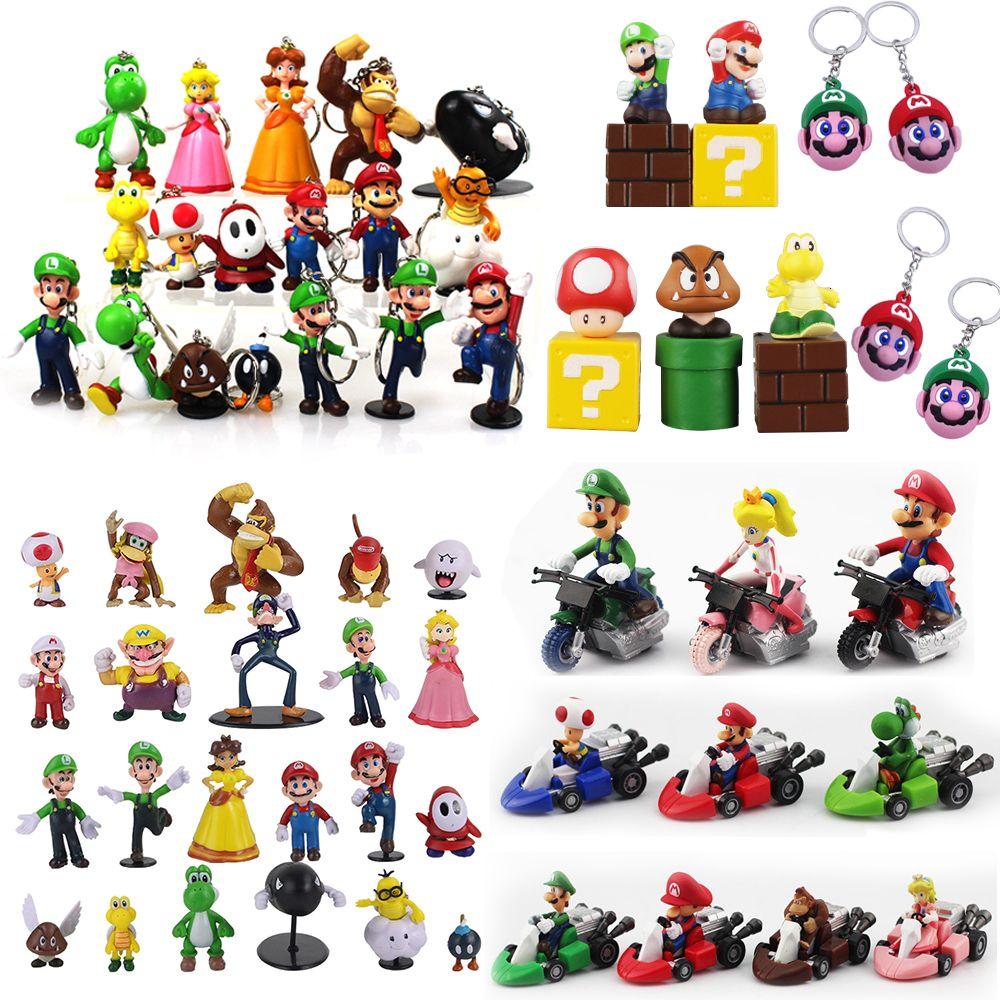 3-7cm Super Mario Bros azione del PVC calcola i giocattoli Yoshi pesca principessa Luigi Shy Guy Odyssey Donkey Kong Dolls modello