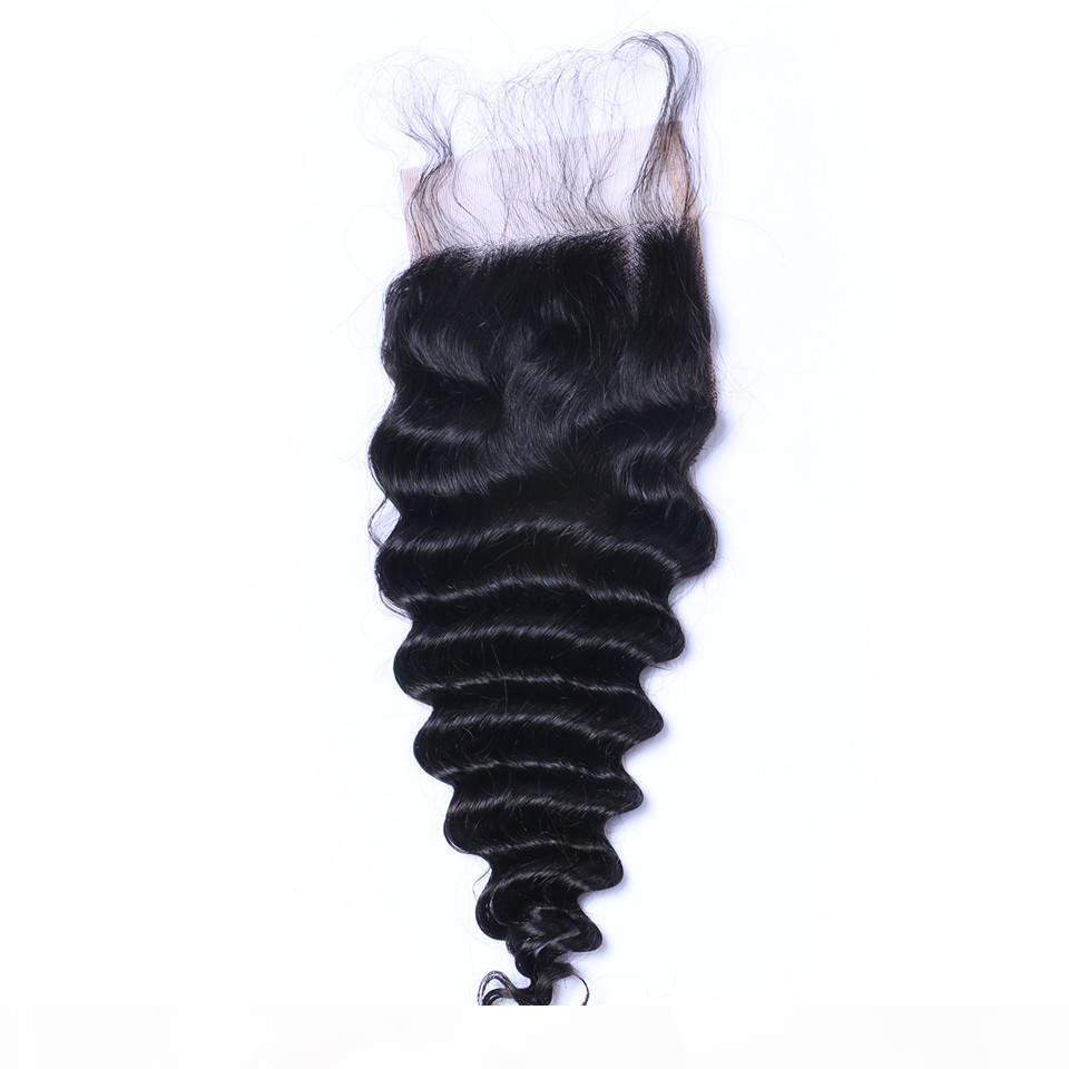 Onda profonda Curl chiusura del merletto candeggiati Nodi brasiliana in profondità ricci dei capelli umani di chiusura 3 parte libera Medio 100% dei capelli umani