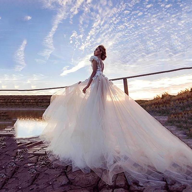 2021 Beach Wedding Dresses A Line V Neck Lace 3D Floral Appliques Bohemian Wedding Dress Cap Sleeve Sweep Train Boho Vestidos De Novia