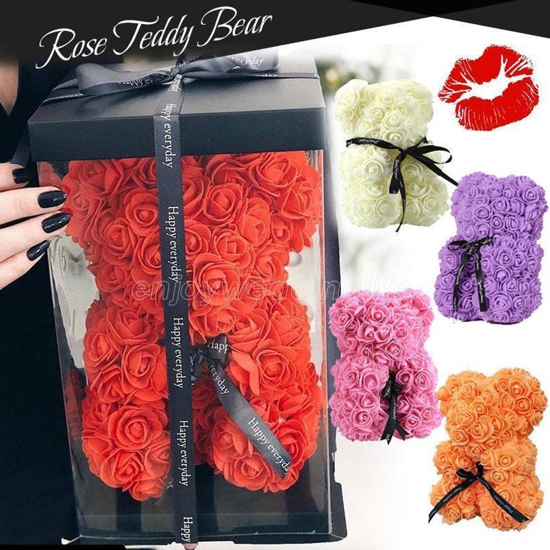 Rose Teddy Bear Nouvelle Saint Valentin Cadeau 25cm Barin de fleur Décoration artificielle Cadeau de Noël pour femmes Valentines Cadeau
