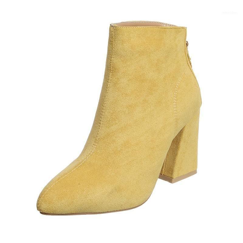 Heiße gelbe Farbe Knöchelstiefel Frauen Schuhe Reißverschluss High Heel Stiefel Sexy Knöchel Frauen Schuhe Damen Jodhpur1