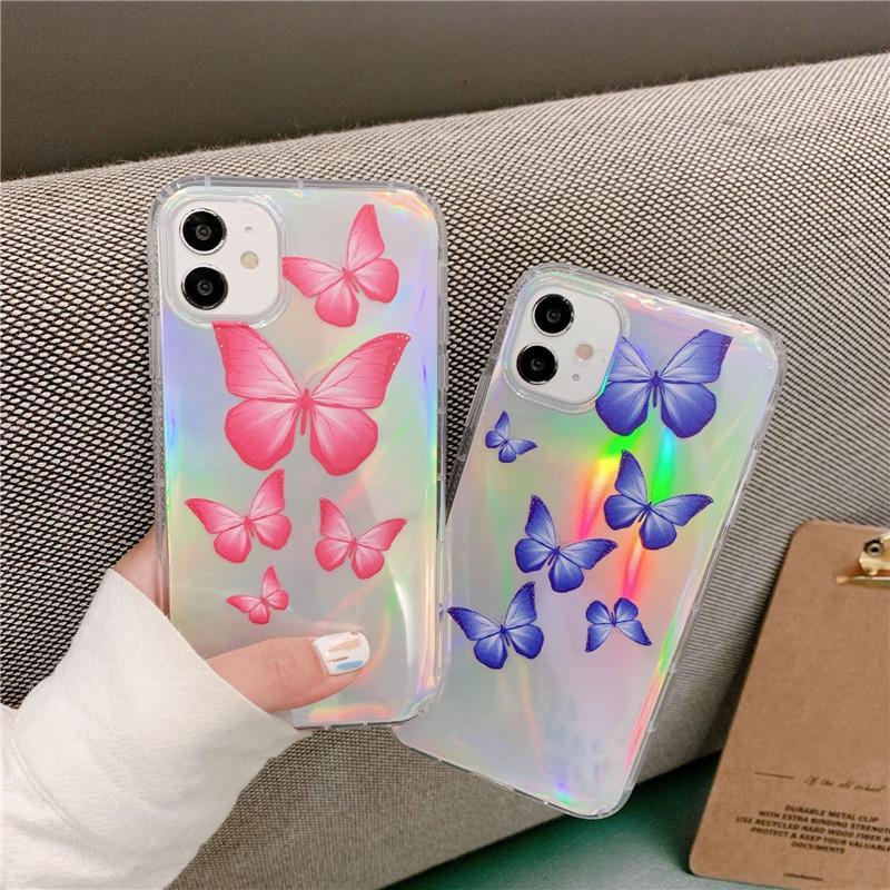 Bling bling borboleta imprimir telefone caso para iphone 12 moda macio tpu tampa anti-caça para iphone 11 pro max xr 8 7