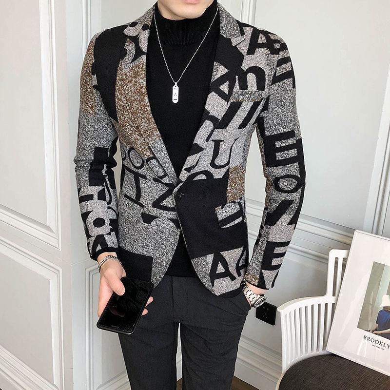 Большое письмо Печать WoolBlend Твид Blazer Мужчины 2020 осень-зима искусство Мужчины Blazer куртка Slim Fit Пром Club Pattern Homme