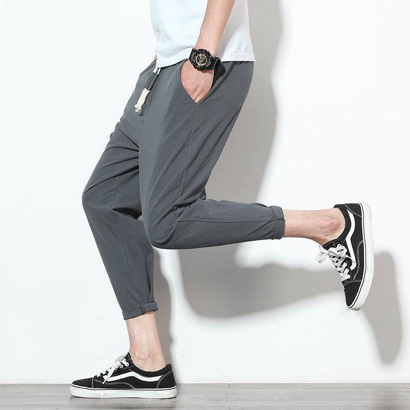 homens desgaste Harlan esportes pants2020 verão ocasional Capris cor sólida calças grandes esportes dos homens finos versão coreana do Harun calças moda hgDl