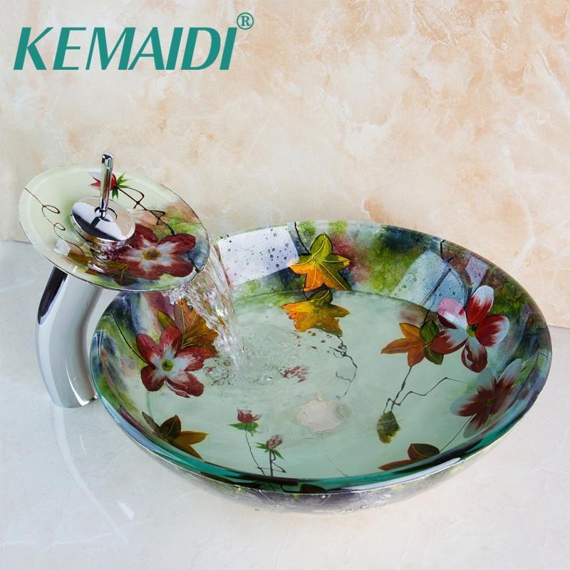 KEMAIDI Noverl تصميم زهرة الخيالة لمسات من الكروم صنبور مغسلة الحمام زجاج الحوض بالماء حتى تصفى مجموعة حوض