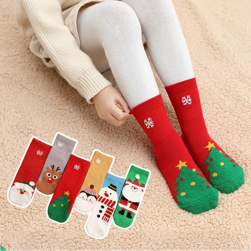 3-12 세 면화 양말 봄 겨울 가을 아기 소녀 소년 아이 양말 어린이 깃털 원사 눈송이 산타 클로스 크리스마스 트리