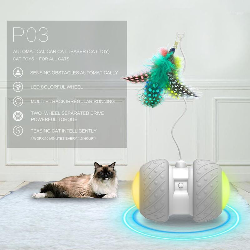 Pet rotante automatico del giocattolo interattivo del gatto giocattolo interattivo per i gatti Palla divertente con la palla della piuma della luce del LED colorato1